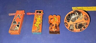 vtg LOT 4 Child's HALLOWEEN Tin CLICKER Noisemakers WITCH Cat BAT SHIPPING INCLD