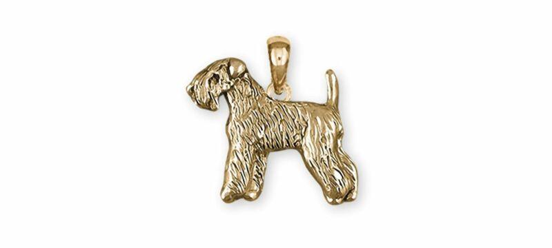 Soft Coated Wheaten Terrier Jewelry 14k Gold Handmade Wheaten Pendant  SCW121X-P