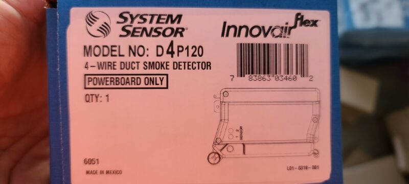 System Sensor D4p120 4 Wire Photoelectric Duct Smoke Detector Powerboard only