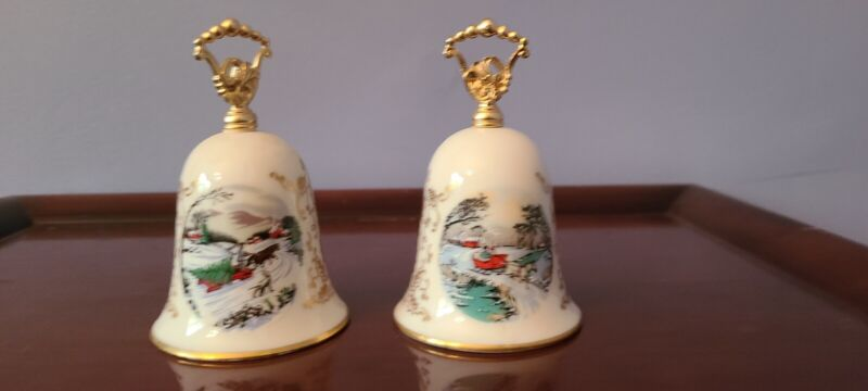 Courier and Ives Christmas Bell (Set of 2)