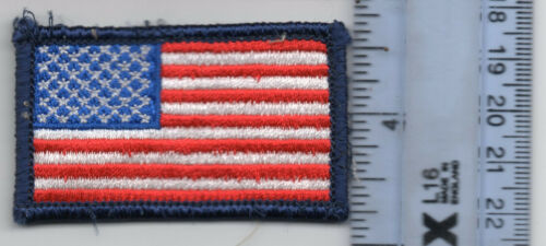 US of A flag patch fully embroidered blue merrowing 1 1/2 inch x 2 1/2 inch BSA