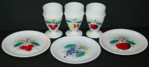 Westmoreland Beaded Edge Milk Glass Painted Fruit 3 Plates 3 Footed Tumblers