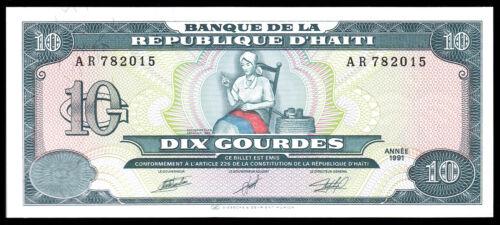 HAITI- 10 GOURDES BANKNOTE 1991 ISSUE P-256a CHOICE UNCIRCULATED