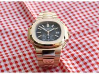 MENS PATEK PHILIPPE NAUTILUS CHRONOGRAPH GOLD NEW WITH BOX BOOK CARD TAGS BAG