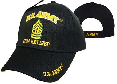 U.S. Army CSM Command Retired Military Black Embroidered Cap Hat CAP560G  Command Military Hat
