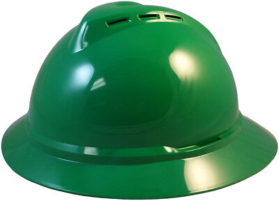 Green Msa Vented Advance Full Brim Hard Hat With 4 Or 6 Point Ratchet Suspension