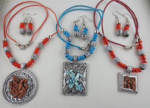 LOT OF 3 Silvertone Bead Tribal Design Pendant Necklaces Dangling Earrings L63