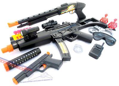 Toy Guns With Sound (3X Toy Guns MP5 Machine Gun w Sound FX Pump-Action Toy Shotgun & Colt .45)