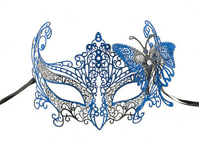 Mask Lace Metal from Venice Butterfly Blue Shiny Fancy 722