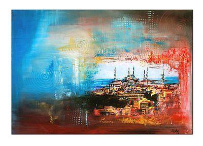 ORIGINAL Acryl Gemälde Stadt Bilder Kunst Leinwand abstrakt ISTANBUL BURGSTALLER