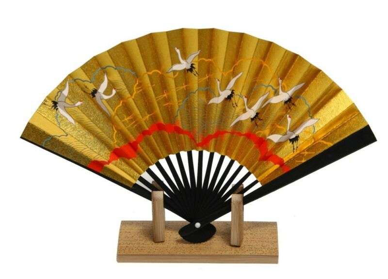 Kyoto Gold Sensu Japanese Hand held Fan Turu Crane Bird Motif made in japan