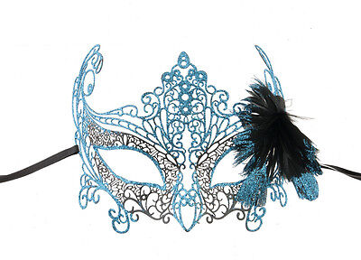 Mask from Venice Butterfly Lace Metal Blue Bright Turquoise A Feathers 736