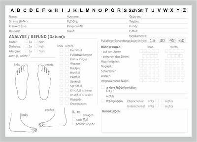 50 Karteikarten Pediküre Fusspflege DIN A5 mit Befund  und Analyse Top Produkt