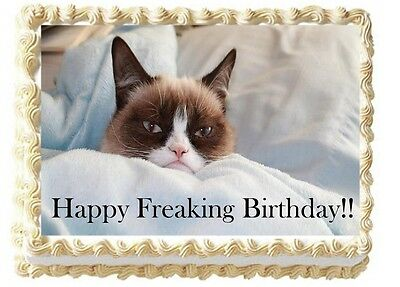 Grumpy Cat Personalized Happy Birthday Cake Edible Image Topper