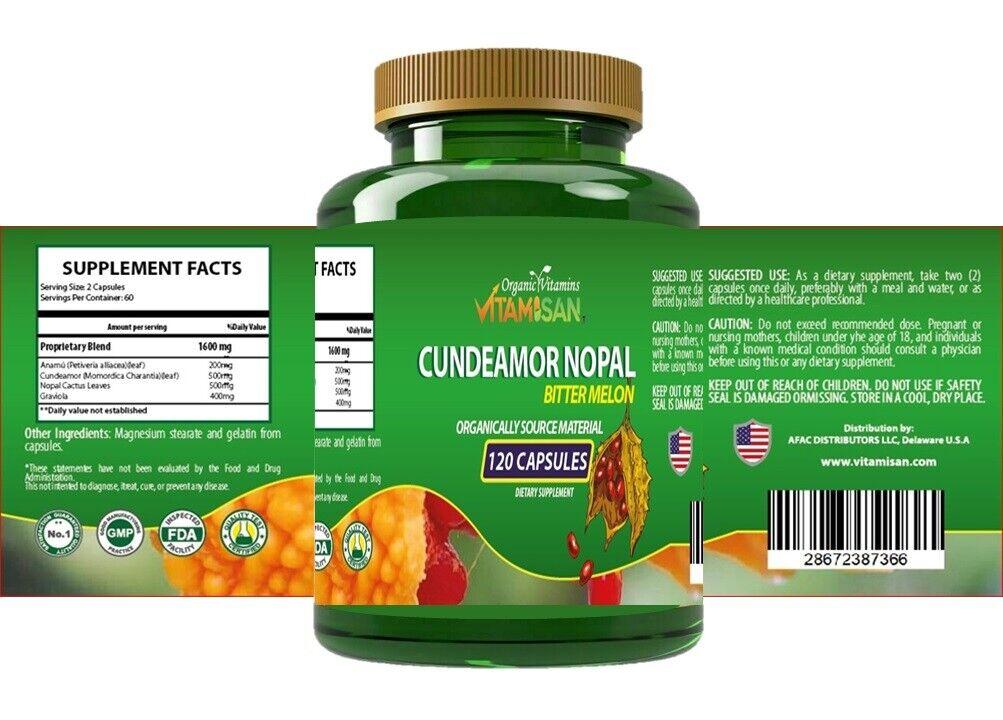 Capsulas de Nopal CUNDEAMOR  2 frascos con 120 capsulas c/u. Regula el Azucar. 5
