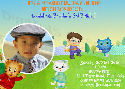 Daniel Tiger Personalized Birthday Party Invitations and Thank You Card - Diy Birthday Invitations