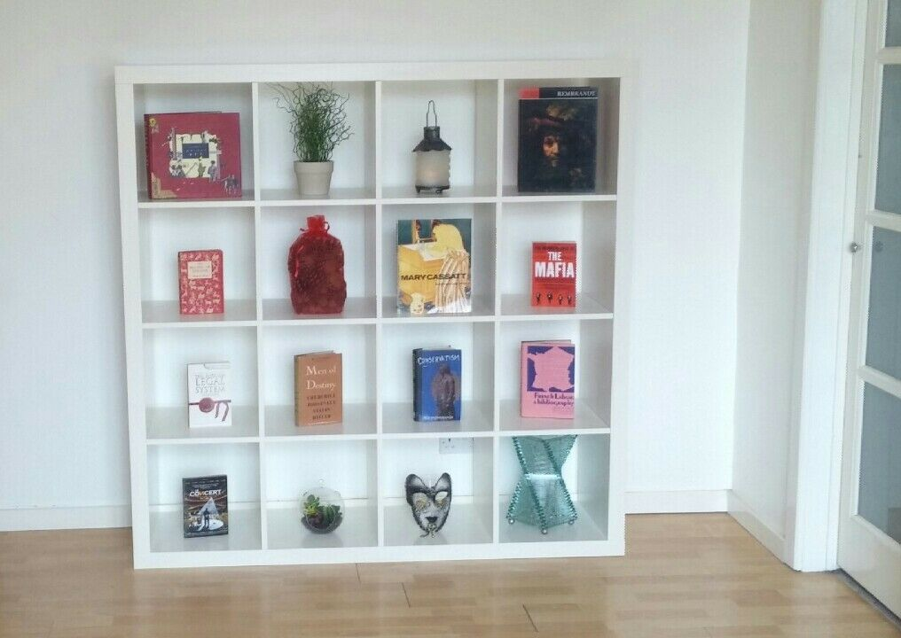 white 4x4 ikea kallax cube storage series shelf shelving units bookcase display expedit in. Black Bedroom Furniture Sets. Home Design Ideas