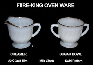 Vintage, Fire-King Oven Ware, sugar bowl and creamer
