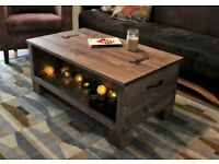 Rustic Wooden Chest Trunk Blanket Box Vintage Industrial Loft Coffee Table