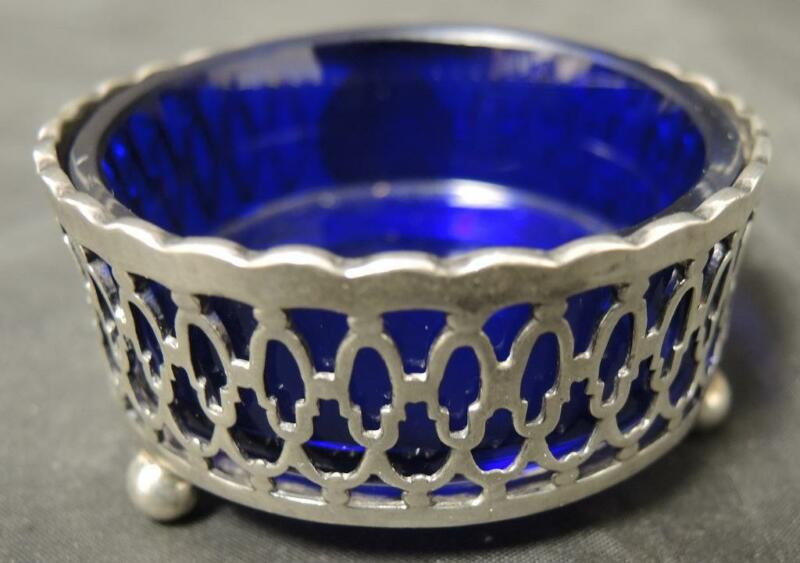 Antique Round Footed Sterling Open Mustard Pot With Cobalt Liner