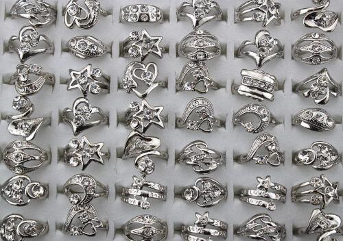 Newest Wholesale Mixed Lot 30pcs Rhinestone silver Plated Women