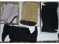 JOB LOT OF NEW WOMEN'S LEATHER AND SUEDE BOOTS