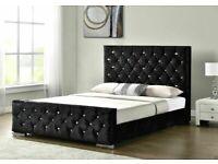 NEW BLACK PLUSH VELVET DIAMANTE FRAME BED WITH HEADBOARD & FOOTBOARD