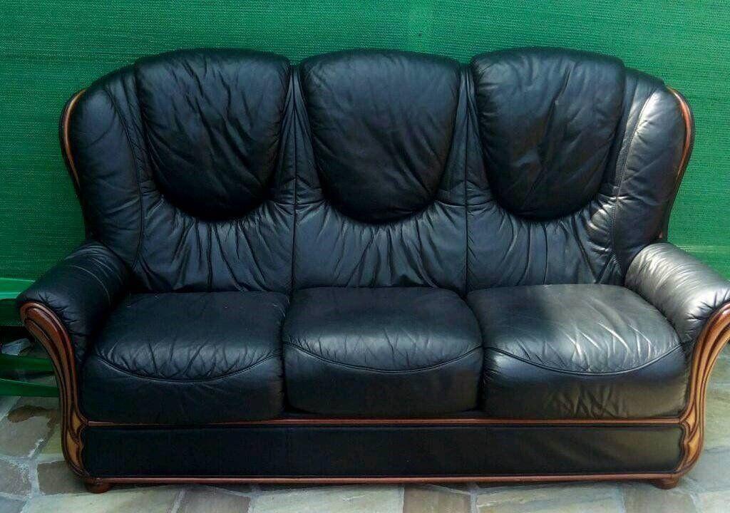 Italian Black Leather Sofa SUITE 3-1-1