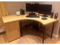 MUST GO! Wooden corner desk with cupboard