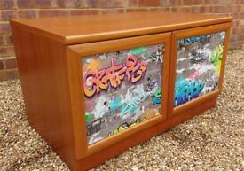 Retro vintage graffiti record cabinet by McIntosh