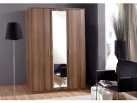 **7-DAY MONEY BACK GUARANTEE!** Solid Wood 3 Door German Wardrobe with Mirror - DELIVERED SAME DAY!
