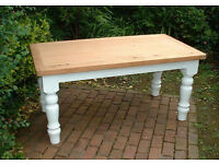 Solid Pine Traditional Farmhouse Dining Table with Chunky Legs - Shabby Chic