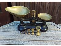Cast Iron Librasco Kitchen Scales & Imperial Brass Weights