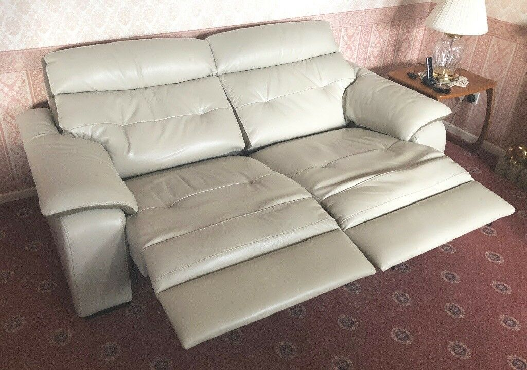 Ivory Latte Leather Motion Powered Suite 2 Seater Reclining Sofa