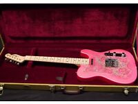 Pink Paisley Fender guitar. Like new. With case.