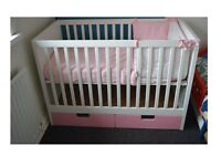 Can Deliver Locally - IKEA Stuva Cot Pink Drawers with Mattress ( minor fault pls read )