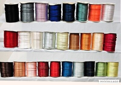 2mm Rat Tail Cord: 10, 50, 100, or 200 yds and many colors! -