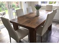 """BESPOKE RUSTIC, SOLID WOOD EXTENDING DINING TABLE WTH 3"""" THICK TOP & 6 WHITE FAUX LEATHER CHAIRS"""