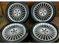 Ford Focus Zetec 18 inch alloy wheels - 5 x108 - 245/40 - 8j - branded tyres - Mercury alloys - £180