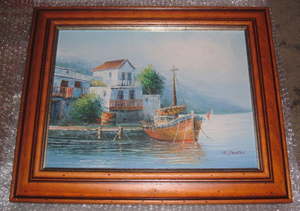 """N. DOUKAS SEASCAPE BOAT AT DOCK OIL ON CANVAS PAINTING IN SUPERB FRAMEin Beeston, West YorkshireGumtree - N. DOUKAS SEASCAPE BOAT AT DOCK OIL ON CANVAS PAINTING IN A SUPERB FRAME THE total SIZE IS 42 cm X 52 cm or 15.5"""" x 20.5"""" FRAMED. OK the photos dont do it enough justice its a beauty I have spent hours enjoying it, hope you do too! Please have a..."""