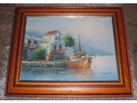 N. DOUKAS SEASCAPE BOAT AT DOCK OIL ON CANVAS PAINTING IN SUPERB FRAME