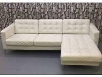 Landskrona Karlstad Leather L corner sofa white