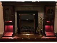 Fireplace surround set with electric glow heater