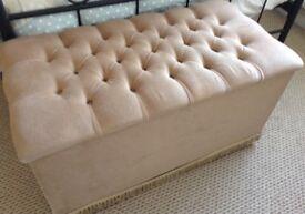 Beige velour bedroom ottoman in excellent condition.