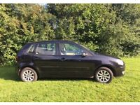 Black VW Polo 1.2l, 2006, unique full leather interior and aux cable