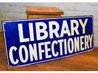 Library Confectionery advertising enamel sign vintage retro antique industrial decor pub mancave