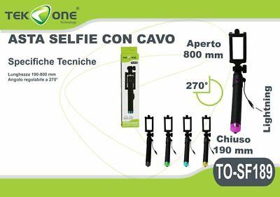 xx Asta Selfie TeKone TO-SF189 Bastone Regolabile Cavo Lightning Smartphone hsb