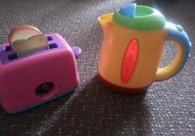 Toy kettle and toaster kitchen play