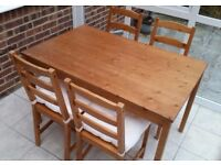 Ikea Solid Pine Table and 4 Chairs