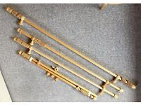 Curtain Poles - Wood - Job Lot of 4 Poles - c/w All fixings, Finials and Curtain Rings